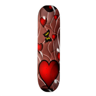 Hearts and Butterflies on an Abstract Background Skateboard Deck