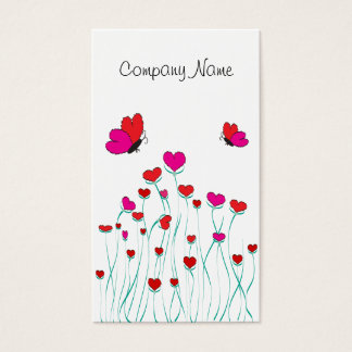 Hearts and Butterflies Valentine Love Business Card