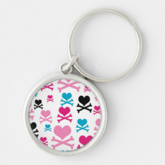 Hearts and Cross Bones on a White BAckground Keychain