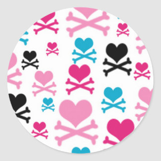Hearts and Cross Bones on a White BAckground Sticker