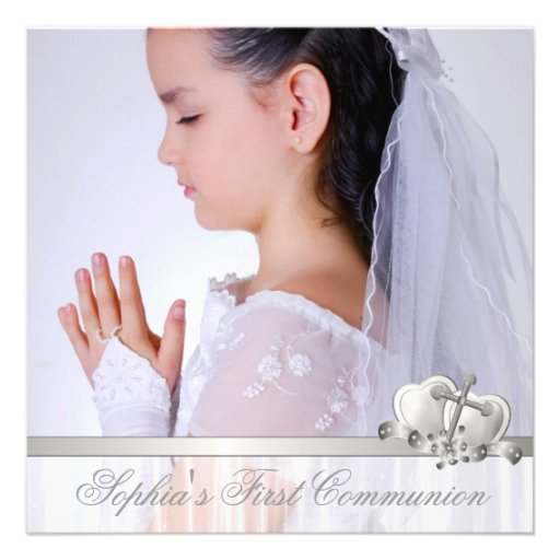 Hearts and Cross Girls White Photo First Communion Personalized Invitations