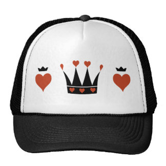 Hearts and Crowns Motif Trucker Hat