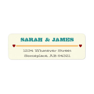 Hearts and Dashed Lines Return Address Label