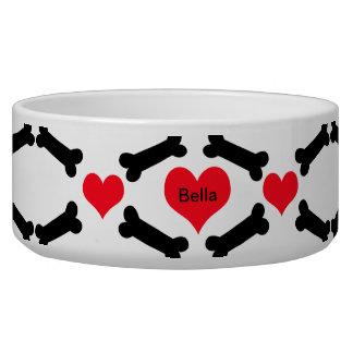 Hearts And Dog Bones Dog Food Bowls