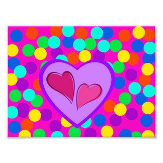 Hearts and dots photo print