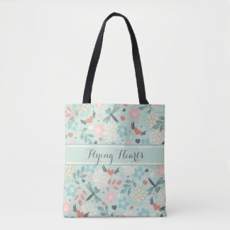 Hearts and Dragonflies Pretty Floral Tote Bag