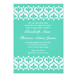 Hearts and Fleur de Lis Wedding Invitation - Teal