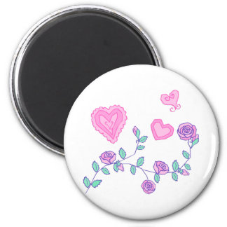 Hearts and Flowers 2 Inch Round Magnet