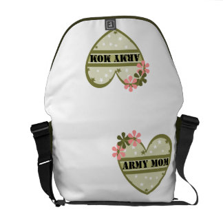 HEARTS AND FLOWERS ARMY MOM MESSENGER BAG