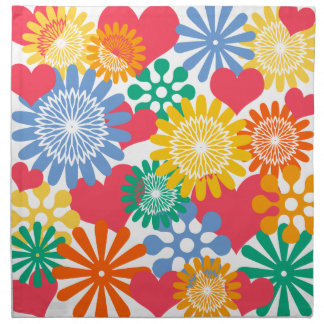 Hearts and Flowers/Colorful Cloth Napkin