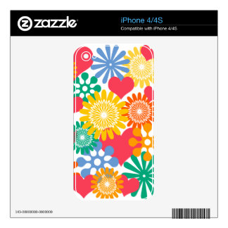 Hearts and Flowers/Colorful iPhone 4S Skins