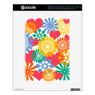 Hearts and Flowers/Colorful NOOK Decals