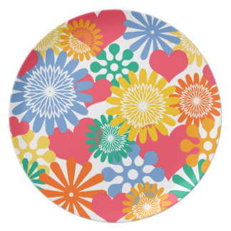 Hearts and Flowers/Colorful Party Plate
