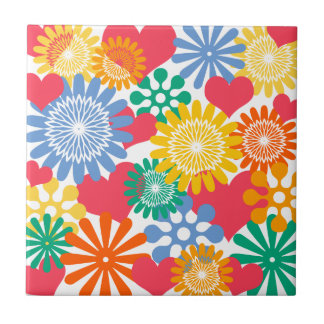 Hearts and Flowers/Colorful Small Square Tile