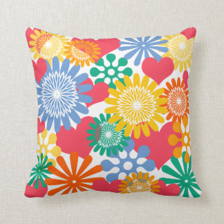 Hearts and Flowers/Colorful Throw Pillow