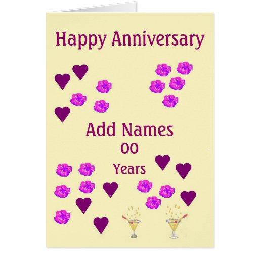 Hearts and flowers custom wedding anniversary card zazzle