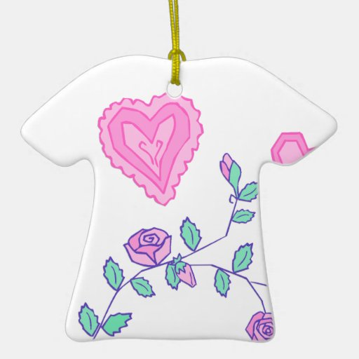 Hearts and Flowers Double-Sided T-Shirt Ceramic Christmas Ornament