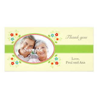 Hearts and flowers for Valentines Photo Card Template