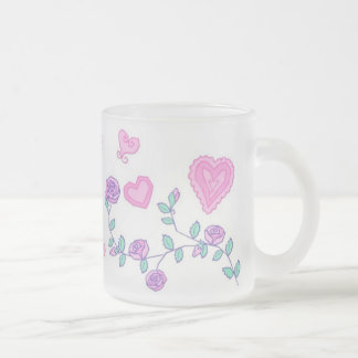 Hearts and Flowers Frosted Glass Coffee Mug