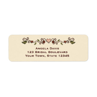 Hearts and Flowers Label