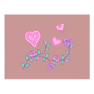 Hearts and Flowers Postcard