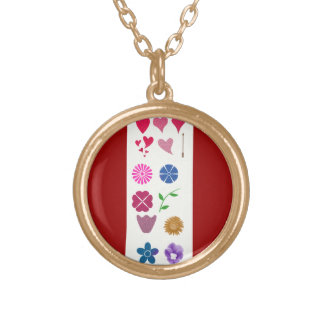 hearts and flowers round pendant necklace