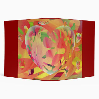 Hearts and Flowers Sunburst Colors Abstract Binder
