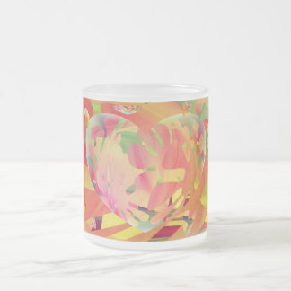 Hearts and Flowers Sunburst Colors. Frosted Glass Coffee Mug