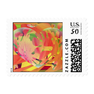 Hearts and Flowers Sunburst Colors Postage