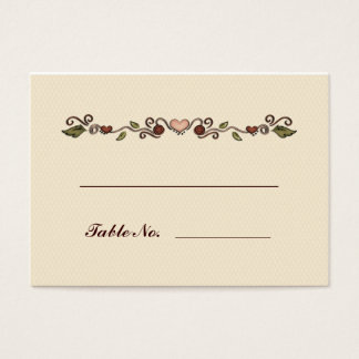 Hearts and Flowers Table Seating Business Card