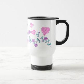 Hearts and Flowers Travel Mug