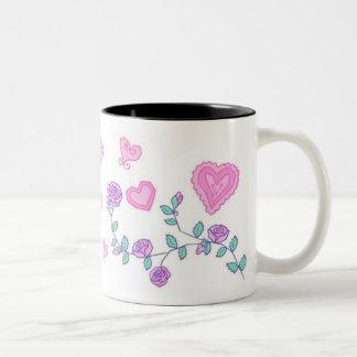 Hearts and Flowers Two-Tone Coffee Mug