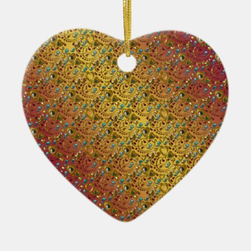 Hearts and Gems Decorated Double-Sided Heart Ceramic Christmas Ornament