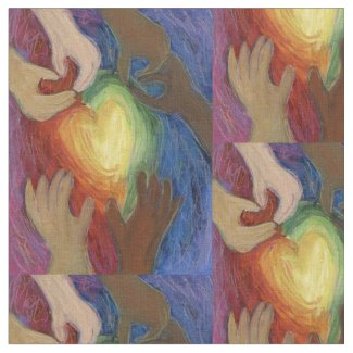 Hearts and Hands Love Art Fabric Material