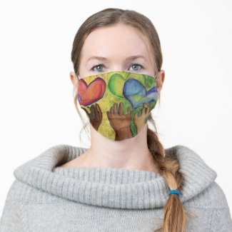 Hearts and Hands Love Diversity Custom Face Mask