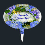 "Hearts and Hydrangeas ~ Cake Topper<br><div class=""desc"">Beautiful blue hydrangeas with little golden hearts,  wedding rings and text,  which can be personalized to suit your needs,  or removed altogether if you wish. very nice for engagement or anniversary cakes.</div>"
