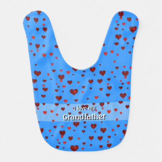"""Hearts and I love my """"name your grandfather"""" bib"""
