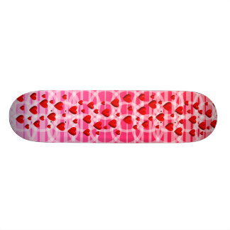 Hearts and interlocking rings skateboard deck