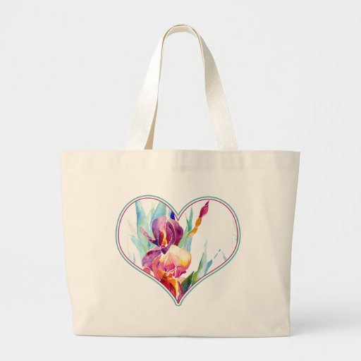 Hearts and Iris Design in Purple Canvas Bags