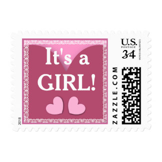 Hearts and Lace It's a GIRL Stamp V03 PINK
