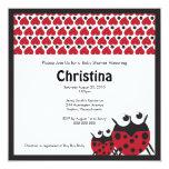 Hearts and Ladybugs Baby Shower Invitation