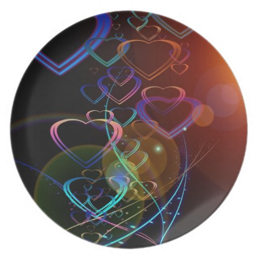Hearts and lens flares dinner plate