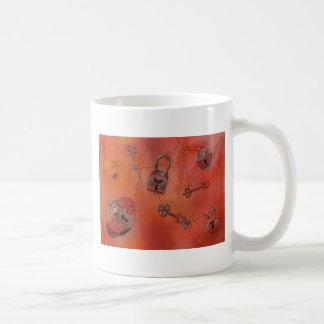 Hearts and Locks Watercolor Painting Mugs