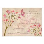 Hearts and love birds wedding invitations