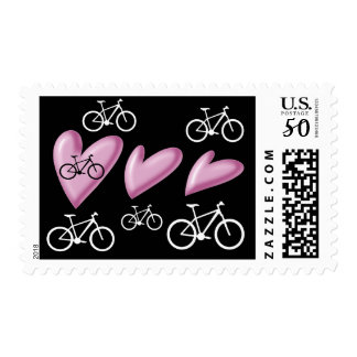 Hearts and mountain bikes stamp
