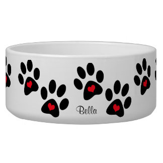 Hearts And Pawprints Dog Water Bowls