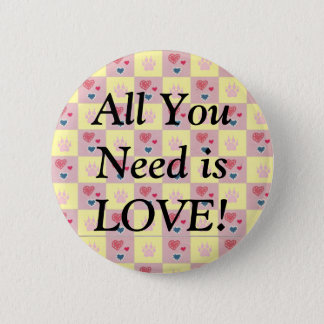 Hearts and Paws Checkerboard Button