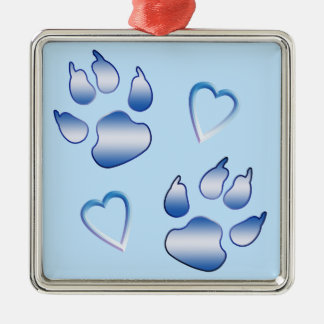 Hearts and Paws in Shades of Blue Square Metal Christmas Ornament