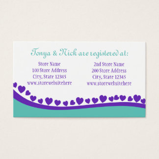 Hearts and Peacock Feather Business Card