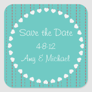 Hearts and Pinstripes Save the Date Sticker